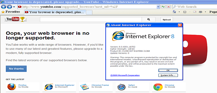 Old IE8 Browser from Microsoft